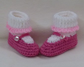 Crocheted Baby Booties Mary Jane Style choose a size
