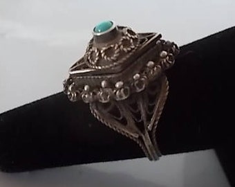 Antique~Vintage~Sterling Silver~Poison Ring~Victorian~Pill Box~Locket~Snuff~Ring~925~Turquoise~Ring With Secret Compartment~size~6 1/2~Nice