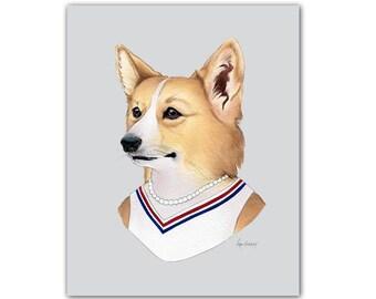 Corgi Dog Lady art print by Ryan Berkley 8x10
