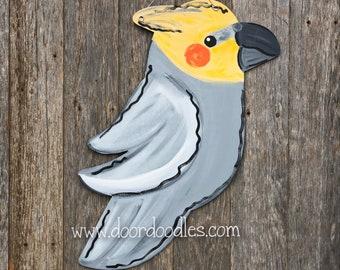 Cockatiel pet bird front door hanger sign wreath wood wooden custom birds