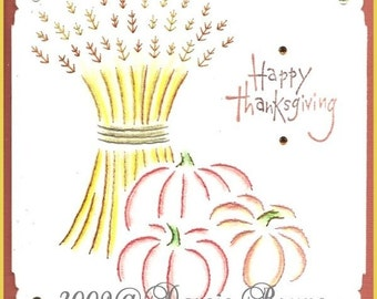 Thanksgiving Harvest Paper Embroidery Pattern for Greeting Cards