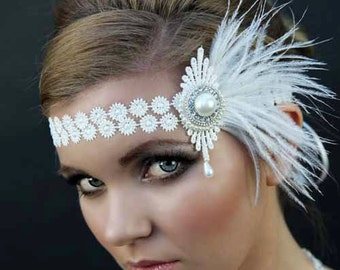 Great Gatsby headpiece ,  1920s headpiece , ivory lace bridal , Art Deco flapper headdress.