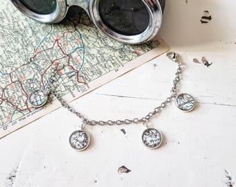 DISCOVER Bracelet // Map Bracelet // Map Jewelry // Map Jewellery // Charm Bracelet // Travel Gift // Travel Jewellery