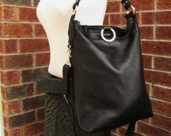 Black leather bag, leather MacBook bag, fold over bag shoulder tote bag, messenger and cross body bag