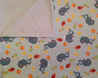 Large Baby Blanket, Swaddle, Reversible, Whales, Underwater Creatures, Blue, Green, Yellow, Plaid, Receiving Blanket, Baby Shower Gift
