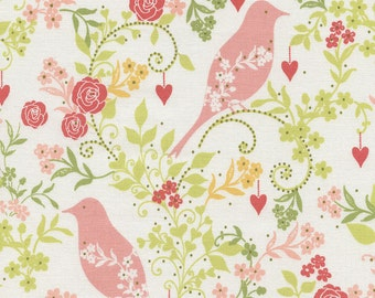 Bird Ivory - 1 yard Cut - Timeless Treasures - Cotton Fabric - Quilting Fabric - Bird Fabric