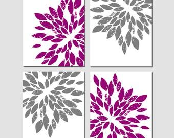 Abstract Floral Quad - Set of Four 8x10 Floral Prints - Modern Floral Wall Art - Flower Burst - Dahlia - CHOOSE YOUR COLORS