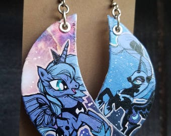 Princess Luna and Nightmare Moon hand-painted My Little Pony earrings