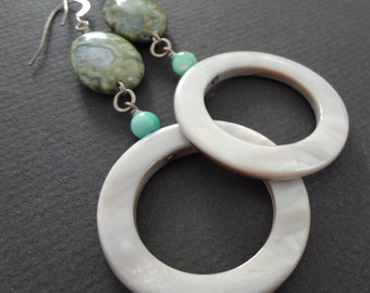 HARD AS A ROCK grey and jasper gemstone and mother of pearl shell hoop earrings.  Modern and funky jewelry.  Sterling silver hoops.