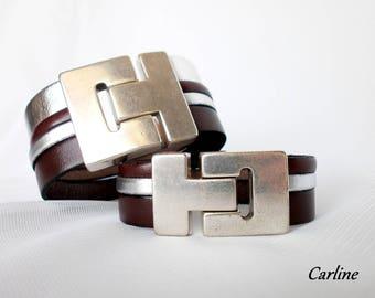 Man and woman Couple silver Bordeaux leather bracelets