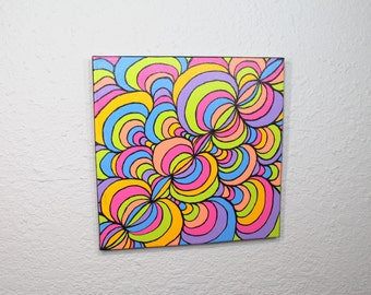 multicolor trippy tubes painting on canvas with gloss finish - acrylic painting, hand painted, wall art, home decor, candy colored