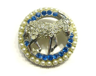 Vintage Aries Ram Brooch Silver Round Pin Astrological Zodiac Rhinestone Pin Horoscope Jewelry Gift for Her Under 10
