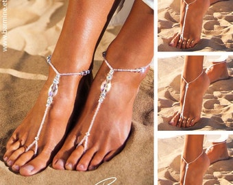 Wedding party set Bride jewelry Bridesmaid jewelry Barefoot sandals Swarovski crystals Footless sandals Bridal accessories Wedding shoes