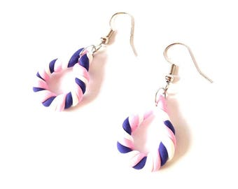 Earrings -- THE SWEET ONES, teardrop shaped, pink, purple, white by The Sausage