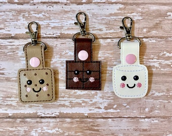Best Friends Keychain, Smores Keychains, Best Friend Bag Tag, S'mores Zipper Pulls, BFF Gift, 3 BFF gift