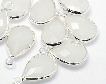 2 Faceted Glass Pendants, Opaque White Tear Drop with a Smooth Silver Plated Bezel