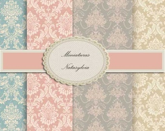 Wall Paper for Dollhouse Collection Damascos Chic. Digital Download.