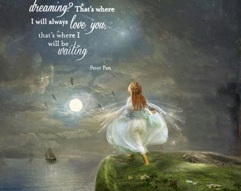 Wherever you are with Peter Pan Quote.. Mounted or unmounted or two sizes of plaques or Notebook -All  signed  By Charlotte Bird
