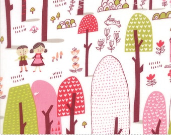 Pink Woodland Fabric, Baby Quilt Fabric, Just Another Walk in the Woods, Moda 20521 11 Stacy Iest Hsu, Childrens Fabric, Cotton