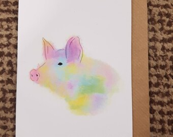 HERSCHEL, Watercolour Farm Pig A6 Recycled Greeting Card, Hand Painted with Brown Envelope