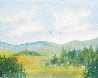 Original ACEO watercolor painting - Great day