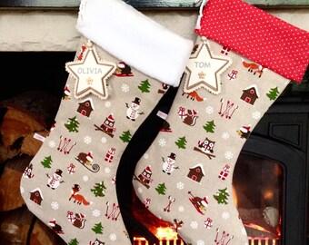 Christmas Stockings, Woodland Friends Christmas Stockings, Personalised Christmas Stockings, Luxury Christmas Stockings **FREE NAME TAG*