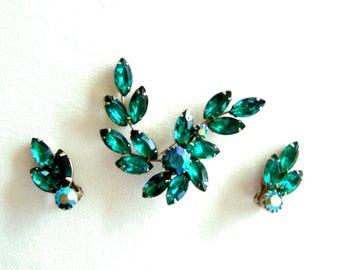 Broche en strass vert exquis & boucles d'oreilles éblouissante bijoux Vintage dynamique éclatante Date nuit élégance cadeau pour son cadeau d'anniversaire
