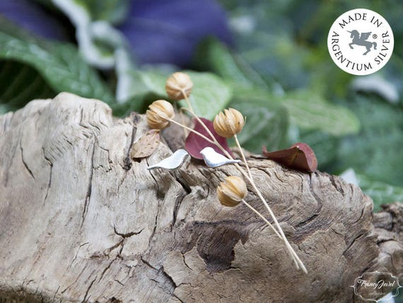 Christmas gift, earrings stud, Argentium earrings, robin bird earrings, minimal earrings, dainty earrings, animal earrings, made in Italy