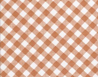 Brown Gingham Fabric - Sew Cherry 2 - Lori Holt Fabric - Riley Blake - Brown Diagonal Gingham Fabric