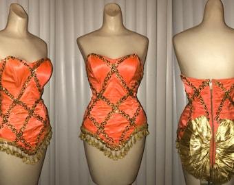 Vintage 50s 1950s Showgirl Burlesque Strapless Corset Waist Cincher Gold Lame Sequin Circus Costume Carnival Outfit Fringe Orange Satin
