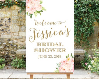 Bridal Shower Welcome Sign - Shower Welcome Printable - Blush Pink Flowers - Pink Gold - Large Shower Welcome Sign - Floral The Bella