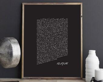 Wedding Vows Valentine's Day Gift Keepsake Print for Newlyweds & Anniversaries - Script