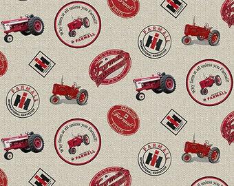 Farmall Tractor Fabric, tractors and logos, cream