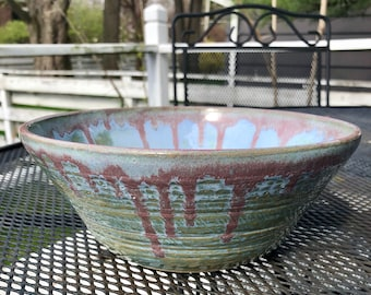 Wheel thrown stoneware blue, green and purple bowl, blue ceramic serving bowl, green and blue mixing bowl