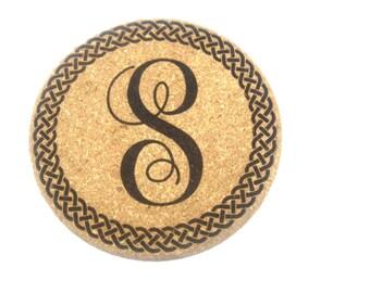 Custom Cork Coaster, Coaster, Personalized Coaster, Script Coaster, Wine Cork Coaster, Gift, Set of 2, Free Engraving