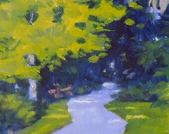 """Oil Painting, """"Down the Garden Path,"""" Original Oil on Canvas, 6x6, Green and Purple Small Painting"""