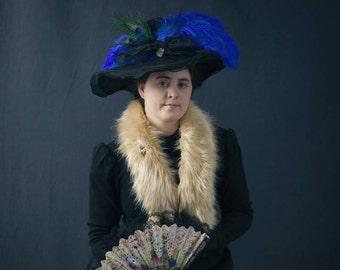 Golden Fur Wrap Stole, Handmade, Versatile Fur Muffler, Silky Faux Fur, Winter Accessory, 1800s-1900s Fur Muffler, Winter Wedding