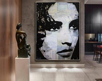 ELIZABETH TAYLOR Painting, Taylor Canvas, Liz Taylor Mixed Media ORIGINAL Painting by Kathleen Artist Ready To Hang Wall Art Modern Fine Art