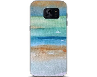 Beach phone case, Samsung S7, S8, S7Ed, S8+ coastal case, watercolor case case, painted art case, artsy phone case, abstract ocean case