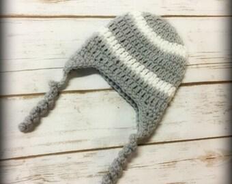 Baby Hat, Baby Crochet Hat, Newborn Hat, Handmade, Crochet,  Hat with Earflaps, Ready to Ship, Newborn Hat, Grey and White Hat, Crochet Hat