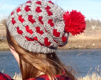 Two-Toned Hearts Pompom Slouch Beanie