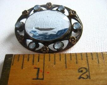 Victorian Sash Pin Blue Glass
