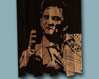 Johnny Cash portrait painting on reclaimed wood - man in black
