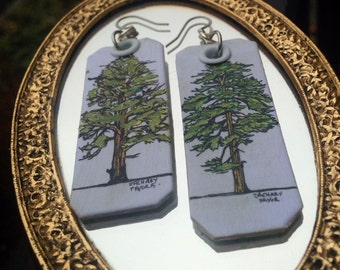 Ponderosa Pine hand-painted earrings - pacific northwest - symbol of Montana