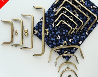 Golden Brass Kisslock Frame Hoop w/ Ring Diamond for Bag Purse, 1 PCS
