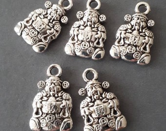 10pcs-2 sided silver tone Chinese God of Wealth charm- silver tone Mammon charm