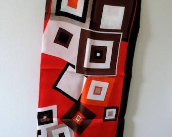 Mod Geometric Red Black White Tan Orange Silk Scarf