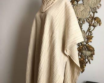 1970s cape wool cape vintage cape sweater coat wool fringe cape bohemian cape shawl knit coat sweater cape blanket coat