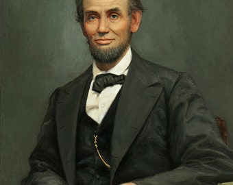 """16th President Abraham Lincoln USA Portrait Painting Large A0 OR 59"""" Canvas Art Print"""