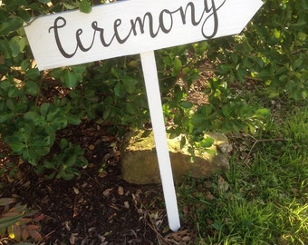 White Painted Rustic White Wood Wedding Ceremony Sign on Stake Arrow Country Cursive Script